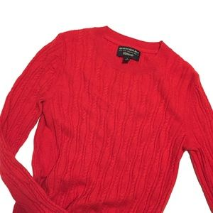 Banana Republic Red Cable Knit Pullover Sweater S